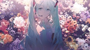 Rating: Safe Score: 47 Tags: aqua_eyes aqua_hair flowers hatsune_miku long_hair rella signed tie twintails vocaloid User: luckyluna