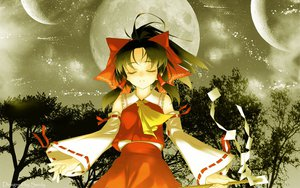 Rating: Safe Score: 42 Tags: black_hair hakurei_reimu japanese_clothes jpeg_artifacts miko moon ribbons rokuwata_tomoe touhou tree User: Oyashiro-sama