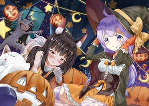 Rating: Safe Score: 48 Tags: animal_ears anthropomorphism azur_lane black_eyes blush bow cape cosplay foxgirl gloves halloween hat loli long_hair moon mutsu_(azur_lane) nagato_(azur_lane) night pumpkin purple_eyes purple_hair sky thighhighs unicorn_(azur_lane) wakamoto_riwo witch_hat yellow_eyes User: BattlequeenYume