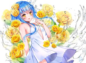 Rating: Safe Score: 49 Tags: blue_hair blush dress flowers original rose signed summer_dress water yellow_eyes yuniiho User: mattiasc02
