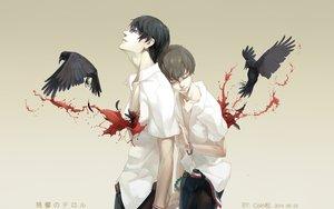 Rating: Safe Score: 95 Tags: all_male animal bird blood coinsong glasses hisami_touji kokonoe_arata male watermark zankyou_no_terror User: mikuna