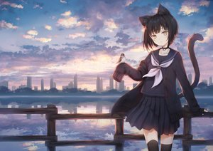 Rating: Safe Score: 68 Tags: 104 animal animal_ears bell bird building catgirl city clouds collar original reflection scenic school_uniform silhouette sky tail thighhighs water zettai_ryouiki User: BattlequeenYume