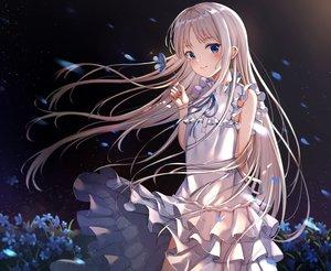 Rating: Safe Score: 133 Tags: ano_hi_mita_hana_no_namae_wo_bokutachi_wa_mada_shiranai blue_eyes blush dress flowers honma_meiko long_hair summer_dress tears white_hair xue_lu User: BattlequeenYume