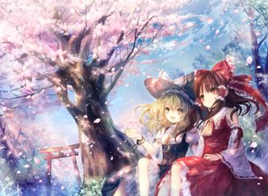 Rating: Safe Score: 93 Tags: 2girls blonde_hair bow braids brown_eyes brown_hair cherry_blossoms flowers hakurei_reimu hat japanese_clothes kirisame_marisa long_hair miko onineko petals ribbons sky torii touhou tree witch yellow_eyes User: Tensa
