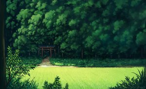 Rating: Safe Score: 147 Tags: forest grass green landscape nobody original sasajqazwsx scenic torii tree User: otaku_emmy