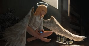 Rating: Safe Score: 46 Tags: angel barefoot blonde_hair blue_eyes book dark drink feathers game_console guitar halo instrument kagumanikusu long_hair original shirt waifu2x wings User: BattlequeenYume