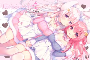 Rating: Safe Score: 82 Tags: 2girls animal_ears braids breasts bunny_ears bunnygirl cleavage dress headdress lolita_fashion long_hair maid mani original pink_hair thighhighs zettai_ryouiki User: RyuZU