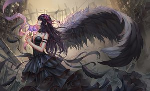 Rating: Safe Score: 108 Tags: aaeru akemi_homura akuma_homura black_hair breasts cleavage dress feathers flowers headband long_hair mahou_shoujo_madoka_magica no_bra ribbons ruins wings User: Flandre93