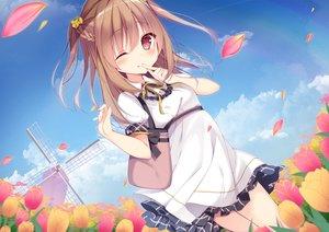 Rating: Safe Score: 72 Tags: aliasing braids brown_eyes brown_hair clouds dress flowers long_hair original shirosei_mochi sky windmill wink User: BattlequeenYume