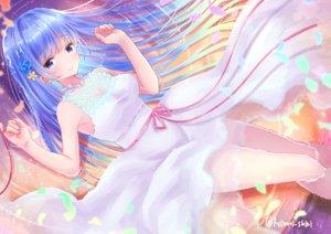 Rating: Safe Score: 39 Tags: aqua_eyes blue_hair blush dress emori_miku emori_miku_project fujimori_shiki long_hair signed summer_dress water User: BattlequeenYume