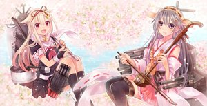 Rating: Safe Score: 95 Tags: 2girls anthropomorphism cherry_blossoms flowers flute haruna_(kancolle) instrument kantai_collection neme yuudachi_(kancolle) User: FormX
