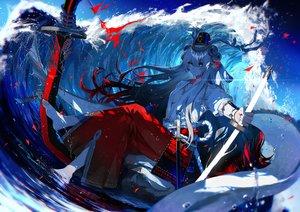 Rating: Safe Score: 68 Tags: barefoot bell breasts fuuna_(conclusion) horns japanese_clothes katana long_hair miko no_bra onmyouji open_shirt samurai suzuka_gozen_(onmyouji) sword water weapon User: Dreista