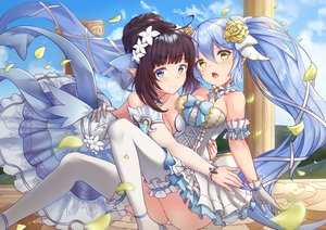 Rating: Safe Score: 84 Tags: 2girls blush bow brown_hair clouds dress elbow_gloves gloves king's_raid long_hair mirianne_(king's_raid) pnt_(ddnu4555) pointed_ears short_hair sky sonia_(king's_raid) thighhighs User: BattlequeenYume