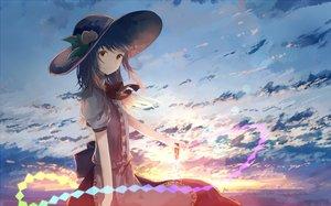 Rating: Safe Score: 76 Tags: blue_hair clouds dress hat hinanawi_tenshi mifuru red_eyes sky sword touhou weapon User: RyuZU