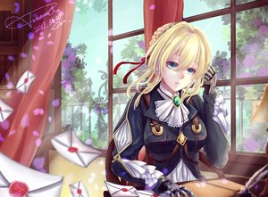 Rating: Safe Score: 72 Tags: aqua_eyes blonde_hair book feathers petals ribbons short_hair signed techgirl violet_evergarden violet_evergarden_(character) vv_sama User: RyuZU