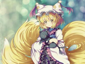 Rating: Safe Score: 26 Tags: animal animal_ears blonde_hair cat chen foxgirl hat multiple_tails short_hair tail touhou yakumo_ran yellow_eyes User: majinjynxi