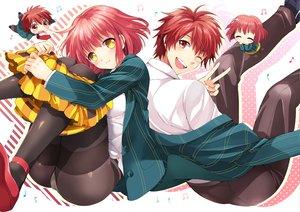 Rating: Safe Score: 48 Tags: chibi ittoki_otoya nanami_haruka_(utapri) panties pantyhose red_hair school_uniform underwear uta_no_prince-sama wink User: opai
