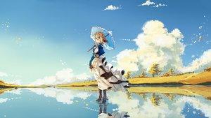 Rating: Safe Score: 74 Tags: aqua_eyes blonde_hair braids clouds dress gloves jin_yun reflection short_hair sky umbrella violet_evergarden violet_evergarden_(character) water User: RyuZU