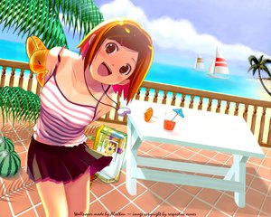 Rating: Safe Score: 41 Tags: beach brown_eyes brown_hair clouds nijiiro_zakura short_hair skirt sky water User: Oyashiro-sama
