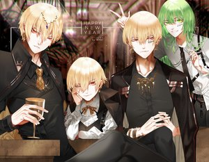 Rating: Safe Score: 10 Tags: all_male blonde_hair drink enkidu fate/grand_order fate_(series) gilgamesh green_eyes green_hair group long_hair male red_eyes ribbons shei99 short_hair suit tie wink wristwear User: RyuZU