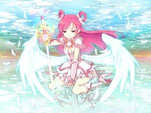 Rating: Safe Score: 102 Tags: clouds dress feathers minazuki_randoseru pink_hair precure sword weapon wings yes!_precure_5 yumehara_nozomi User: opai