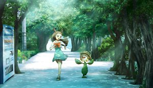 Rating: Safe Score: 64 Tags: bow brown_eyes brown_hair dress long_hair mikan_(pokemon) pokemon ribero summer_dress sunflora tree User: FormX