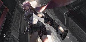 Rating: Safe Score: 172 Tags: building cape final_fantasy final_fantasy_xiii garter gloves gun kishiyo lightning_farron pink_hair purple_eyes short_hair skirt weapon User: FormX
