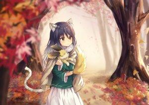 Rating: Safe Score: 80 Tags: animal animal_ears autumn black_hair blush brown_eyes cape catgirl dargo forest kashiwazaki_shiori leaves long_hair princess_connect! skirt tail tree User: otaku_emmy