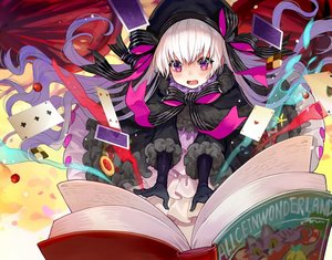 Rating: Safe Score: 66 Tags: alice_in_wonderland blush book bow cape cherry elbow_gloves fate/grand_order fate_(series) food fruit gloves goth-loli hat lolita_fashion long_hair magic nursery_rhyme_(fate/extra) purple_eyes ribbons white_hair yuu_(higashi_no_penguin) User: otaku_emmy