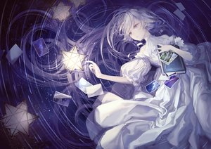 Rating: Safe Score: 43 Tags: book dress flowers gray_hair long_hair polychromatic purple purple_eyes stars water yoggi_(stretchmen) User: Dreista