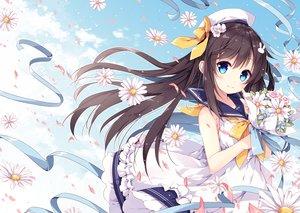 Rating: Safe Score: 112 Tags: aqua_eyes black_hair clouds dress flowers hat long_hair mochizuki_shiina original ribbons seifuku sky User: RyuZU