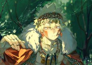 Rating: Safe Score: 15 Tags: all_male bakugou_katsuki blonde_hair boku_no_hero_academia close forest headdress male necklace red_eyes short_hair taro-k tree User: mattiasc02