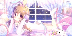 Rating: Safe Score: 73 Tags: animal_ears bed blush brown_hair bunny bunny_ears bunnygirl candy headphones loli long_hair microphone original pajamas red_eyes shiratama socks tail User: BattlequeenYume