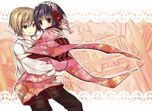 Rating: Safe Score: 32 Tags: black_hair blonde_hair bow claude_claudel flowers headdress hug ikoku_meiro_no_croisee japanese_clothes male ribbons short_hair yukata yune_(ikoku_meiro_no_croisee) User: HawthorneKitty