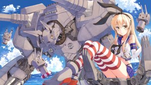 Rating: Safe Score: 199 Tags: anthropomorphism blonde_hair elbow_gloves gloves headband kantai_collection long_hair mecha rensouhou-chan shimakaze_(kancolle) skirt terras thighhighs water yellow_eyes User: FormX