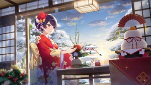Rating: Safe Score: 36 Tags: blush brown_eyes clouds flowers girl_cafe_gun_(game) japanese_clothes kimono purple_hair shi_wuxia short_hair sky tagme_(artist) User: BattlequeenYume