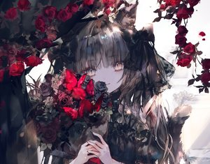 Rating: Safe Score: 118 Tags: animal_ears bow brown_eyes brown_hair butterfly catgirl close flowers gothic long_hair onineko original polychromatic rose tail User: BattlequeenYume