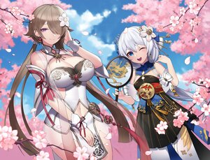 Rating: Safe Score: 69 Tags: 2girls brown_hair cherry_blossoms chinese_clothes fan flowers gray_hair honkai_impact long_hair morung purple_eyes rita_rossweisse theresa_apocalypse wink User: BattlequeenYume