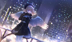 Rating: Safe Score: 45 Tags: angel blue_eyes brown_hair building city halo hat nekokan_masshigura night original short_hair signed thighhighs wings User: BattlequeenYume
