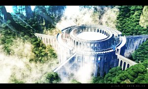 Rating: Safe Score: 55 Tags: 3d building clouds forest nobody original realistic scenic tree waisshu_(sougyokyuu) User: RyuZU