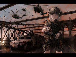Rating: Safe Score: 230 Tags: aircraft call_of_duty combat_vehicle gloves gray_eyes gray_hair gun koh_(minagi_kou) military shorts sky uniform weapon User: opai