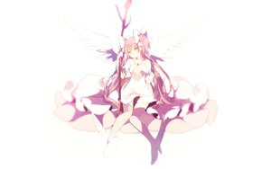 Rating: Safe Score: 145 Tags: boots dress kaname_madoka long_hair lpip mahou_shoujo_madoka_magica pink_hair staff thighhighs twintails ultimate_madoka white wings yellow_eyes User: luckyluna