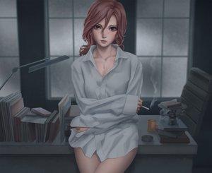 Rating: Safe Score: 39 Tags: aozaki_touko blush brown_eyes brown_hair kara_no_kyoukai long_hair miura_naoko necklace shirt User: SciFi