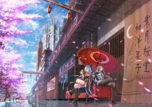 Rating: Safe Score: 83 Tags: 2girls blue_eyes boots brown_hair building cherry_blossoms clouds flowers katana long_hair original pantyhose pink_eyes reflection ribbons scenic short_hair sky sword tagme_(artist) tree umbrella uniform weapon white_hair wink User: BattlequeenYume