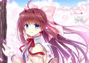 Rating: Safe Score: 38 Tags: asakura_otome blue_eyes blush brown_hair cherry_blossoms da_capo da_capo_ii flowers long_hair petals ribbons ryuuga_shou school_uniform signed User: RyuZU
