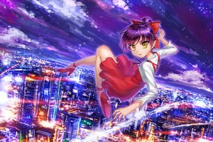 Rating: Safe Score: 9 Tags: bow building city clouds crazypen dress gegege_no_kitaro neko_musume pointed_ears ponytail purple_hair sky yellow_eyes User: RyuZU
