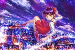 Rating: Safe Score: 21 Tags: bow building city clouds crazypen dress gegege_no_kitaro neko_musume pointed_ears ponytail purple_hair sky yellow_eyes User: RyuZU