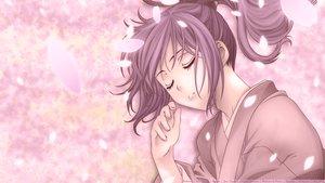 Rating: Safe Score: 32 Tags: flowers hakuouki_shinsengumi_kitan japanese_clothes kimono petals purple_hair sleeping yukimura_chizuru User: Maboroshi