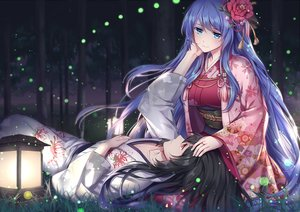 Rating: Safe Score: 50 Tags: althea_(sakiya0000) aqua_eyes aqua_hair black_hair breasts flowers forest grass japanese_clothes kimono long_hair male night original red_eyes tree User: RyuZU