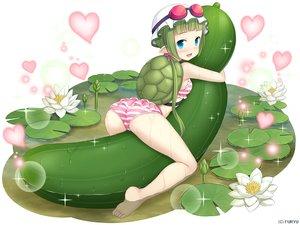 Rating: Safe Score: 45 Tags: aqua_eyes ass barefoot bikini flowers goggles green_hair hat heart hug kappa_kosui long_hair monmusu_harem namaru_(summer_dandy) pointed_ears swimsuit water wet User: otaku_emmy